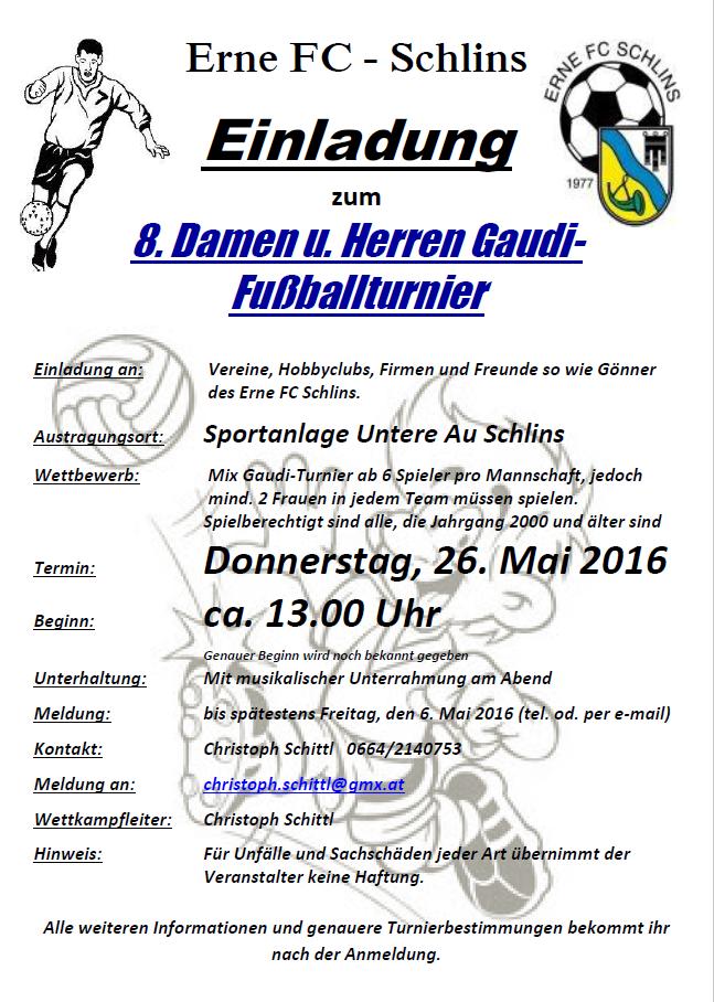 erne fc schlins - einladung zum 8.gaudi-turnier 2016, Einladung
